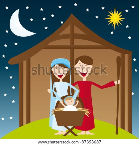 cute manger over night landscape with moon and star. vector