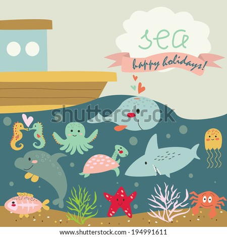 Cute marine background with turtle, x-ray fish, dolphin, crab, jelly-fish, shark, whale, sea-horses, octopus, starfish, corals and ship in cartoon style - stock vector