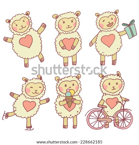 Cute mascot sheep collection with different mood and elements. Vector funny illustration - stock vector