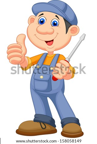 Cute mechanic cartoon holding a screwdriver and giving thumbs up - stock vector