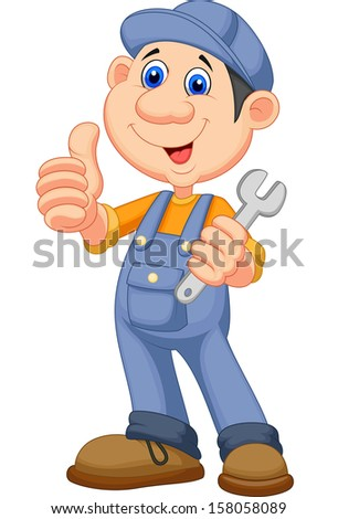Cute mechanic cartoon holding wrench and giving thumbs up - stock vector