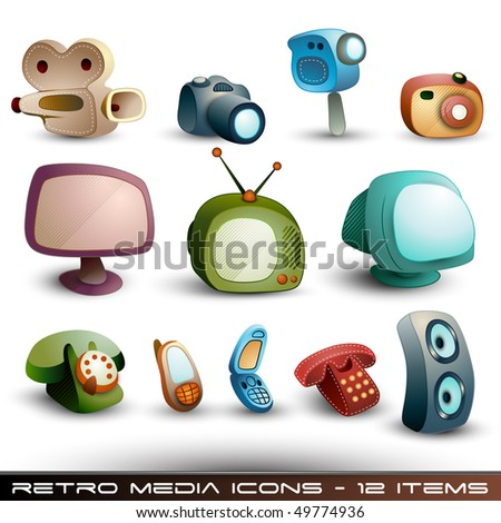 Cute Media Icons - Vector Set - stock vector