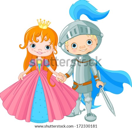 Cute Medieval Lady and Knight - stock vector