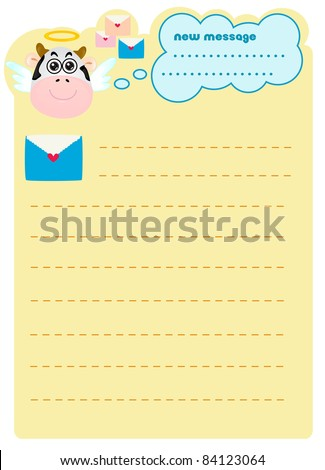 Cute Memo Cow Angel Blank Sign Stock Vector   Shutterstock