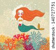 Cute mermaid in corals. Bright cartoon background in vector. Childish card - stock photo
