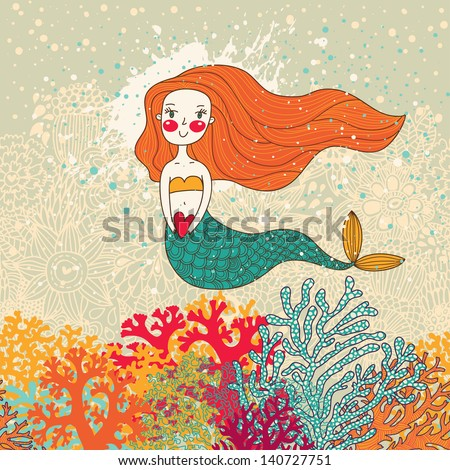 Cute mermaid in corals. Bright cartoon background in vector. Childish card - stock vector