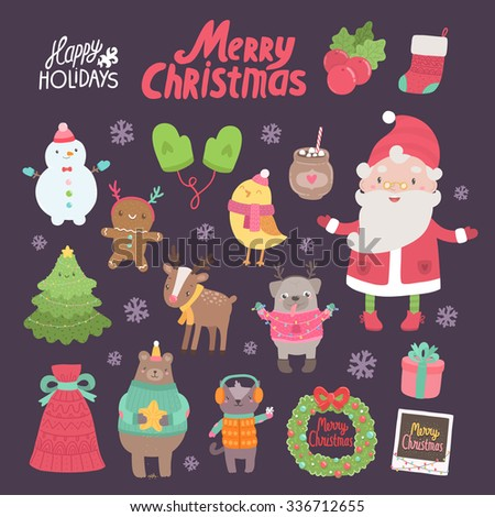 Cute Merry Christmas and Happy New Year characters and objects - Santa Claus, bird, ginger cookie, snowman, deer, pug, cat, bear, tree, gift, mittens, sock. Adorable design illustrative elements - stock vector