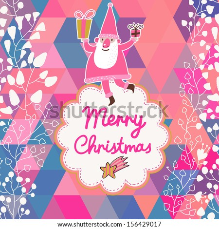 Cute Merry Christmas Background With Funny Santa Vintage Vector Holiday Frame New Year Design