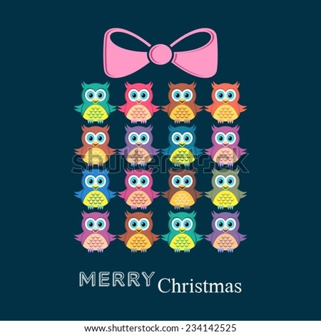 Cute merry christmas card with owls and present - stock vector