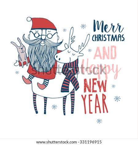 Cute Merry Christmas Happy New Year card with animals with Santa. Lovely cartoon background with holiday symbols. Blue color background. - stock vector