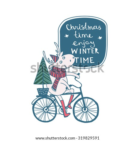 Cute Merry Christmas Happy New Year card with deer on bicycle. Lovely cartoon background with holiday symbols. Blue color background.Winter Time - stock vector