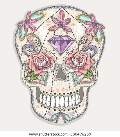 Cute mexican skull. Colorful skull with flower, gem, hearts and jewel pattern. Sugar skull. - stock vector