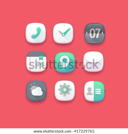 Cute mobile interface icons. Red - stock vector