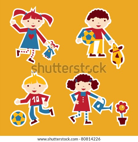 Cute modern style illustration of children playing with their favorite toy - stock vector