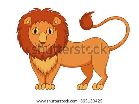 Cute modest cartoon lion with fluffy mane and kind muzzle, lion smile and look. Vector illustration - stock vector