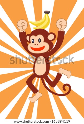 cute monkey - stock vector