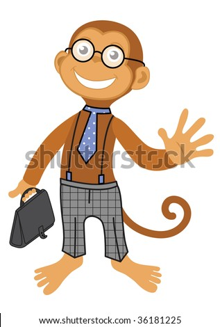 Cute monkey boss in glass with dotted toe and cheked pants, with bag - stock vector