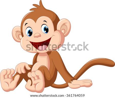 Cute monkey cartoon  - stock vector