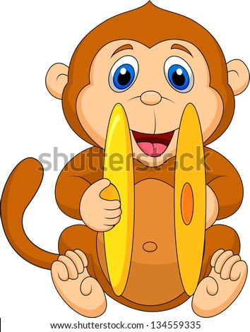 Cute monkey cartoon playing cymbal - stock vector