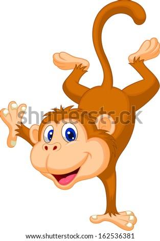 Cute monkey cartoon standing on his hand - stock vector