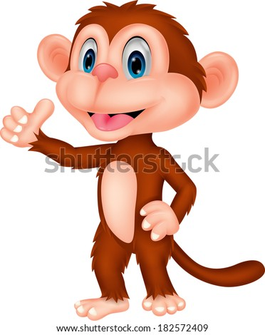 Cute monkey cartoon with thumb up - stock vector