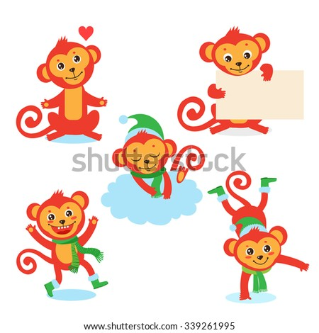 Cute monkey character set of vector illustrations of a in various poses . All isolated on white background. - stock vector