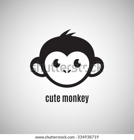 Cute monkey face, New Year 2016, vector illustration logo design - stock vector
