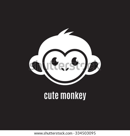 Cute monkey face on dark background, New Year 2016, vector illustration logo design - stock vector