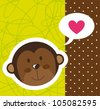 cute monkey face with heart over cute background. vector - stock vector
