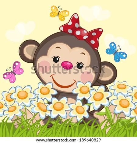 Cute Monkey, flowers and butterflies - stock vector