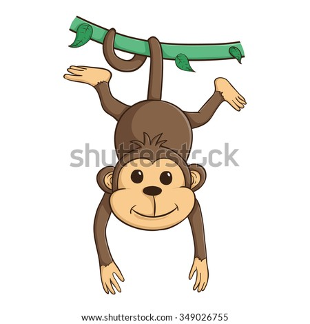 Cute Monkey Hanging On The Green Vines With His Tail - stock vector