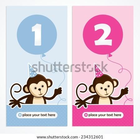 cute monkey layout design - stock vector