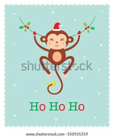 cute monkey merry christmas greeting card - stock vector