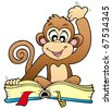 Cute monkey reading book - vector illustration. - stock vector