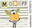 cute monkey striped background...