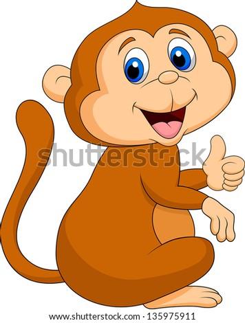 Cute monkey thumb up - stock vector