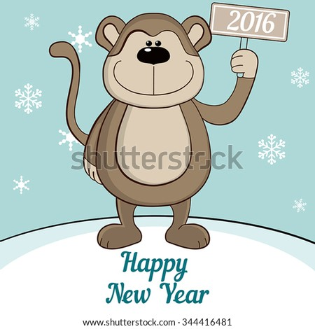Cute monkey under the snow. Merry Christmas and a Happy New-Year's greeting sweet postcard. - stock vector