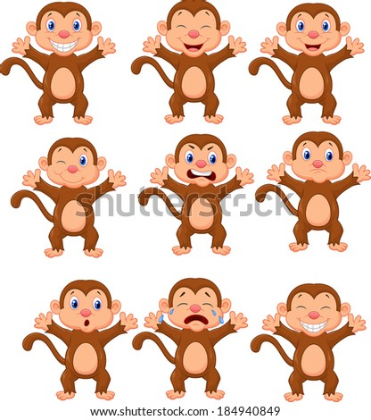 Cute monkeys in various expression  - stock vector