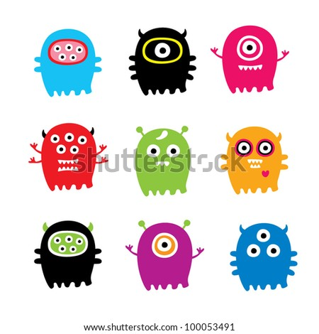 cute monster collection - stock vector