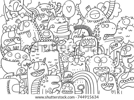 Cute Monster Coloring Page Stock Vector 744915634 - Shutterstock
