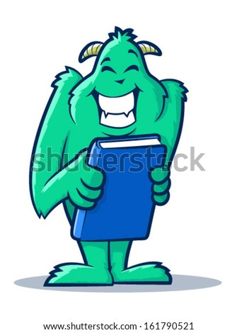 Cute monster creature holding a book/Vector Book Monster - stock vector
