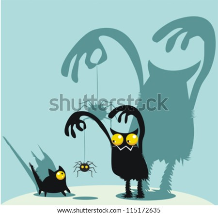 Cute monster, kitty and spider - stock vector