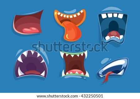 Cute monster mouths vector set. Monster expression funny, tongue and monster mouths with teeth illustration
