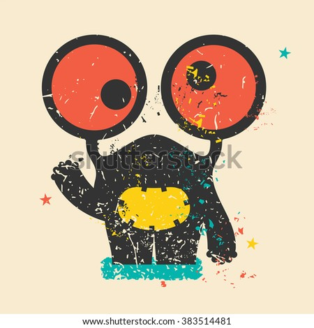 Cute monster on retro grunge background. Cartoon illustration. Vintage vector illustration. - stock vector