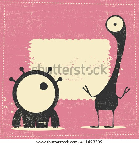 Cute monster on retro grunge background with place for text. cartoon illustration. vector - stock vector