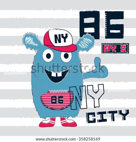 cute monster on striped background, T-shirt design vector illustration - stock vector