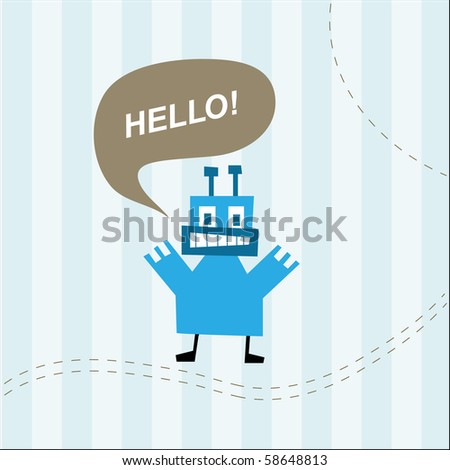 Cute monster saying hello on striped blue background - stock vector