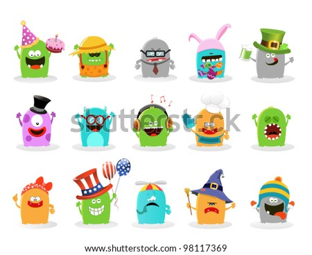 Cute Monster Set - stock vector