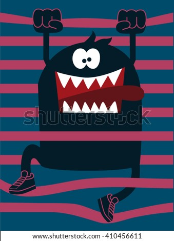 cute monster vector character design - stock vector