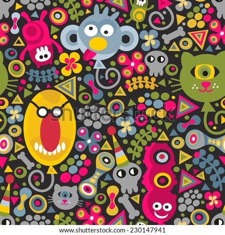Cute monsters balloons seamless pattern on dark background. Vector party texture for you backdrop.  - stock vector